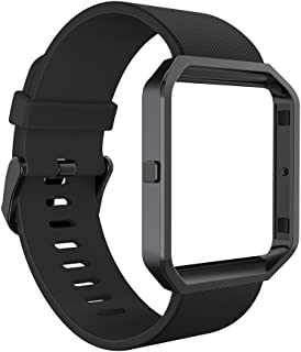 GeeRic Band and Frame Compatible with Fit Bit Blaze, Soft Silicone Strap Wristband for Smart Fitness Watch, Sports Men Women Black Band&Balck Frame Large
