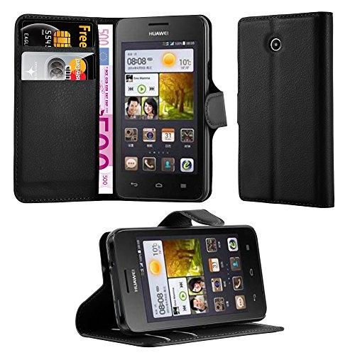 Cadorabo Hülle für Huawei Ascend Y330 Hülle in Phantom schwarz Handyhülle mit Kartenfach & Standfunktion Hülle Cover Schutzhülle Etui Tasche Book Klapp Style Phantom-Schwarz