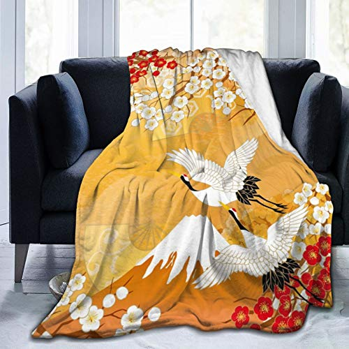 Zhung Ree Crane Cherry Blossom Blanket Throw Soft Blanket Adult Women Boy Girl Kids Toddler for Sofa Couch Bed Office Travelling Camping 80 x 60 Inch