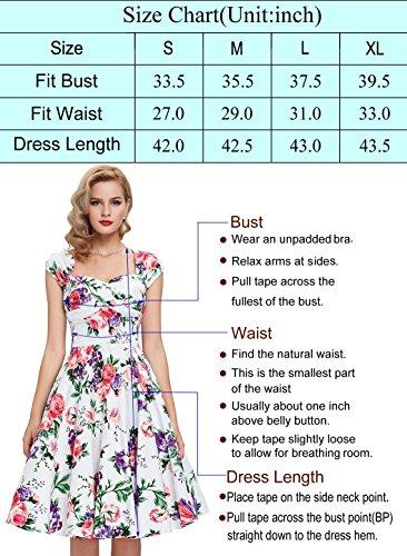 Damen Petticoat Kleider 50er Festliche Kleider Knielang XL BP002-33 - 3