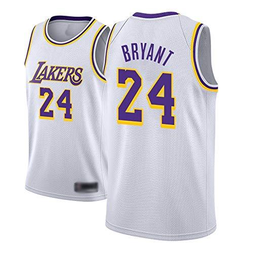 WOLFIRE SC Camiseta de Baloncesto para Hombre, NBA, Los Angeles Lakers #8#24 Kobe Bryant. Bordado Swingman Transpirable y Resistente al Desgaste Camiseta para Fan (Blanca, L)