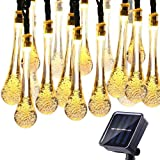 Solar String Lights,50 LED Advanced Water Drop Solar Fairy String Lights Outdoor Waterproof, 8 Modes Solar Lights for Patio, Lawn, Home, Garden, Wedding, Party Decorations (Warm-White)