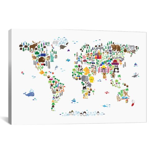 iCanvasART Animal Map of The World by Michael Tompsett Canva...