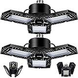 2-Pack 30W LED Garage Lights, LED Shop Light with 3 Adjustable Panels,5000LM Deformable Garage LED Light, CRI 80, 6500k Daylight, Warehouse Lights with Adjustable Panels