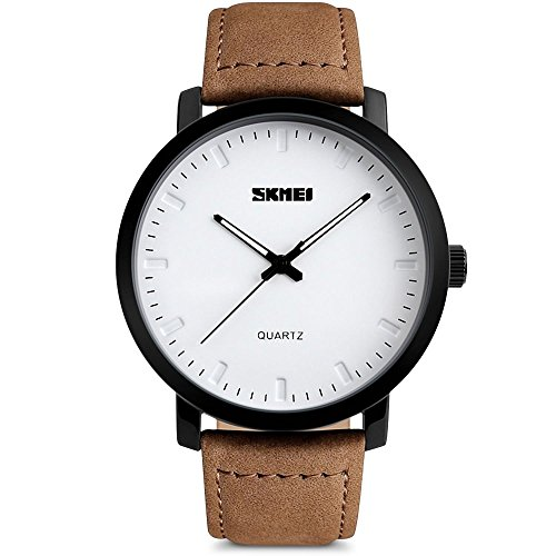 Mens Unique Analog Quartz Waterproof Business Casual Leather Band Dress Wrist Watch with Simple Fashion
