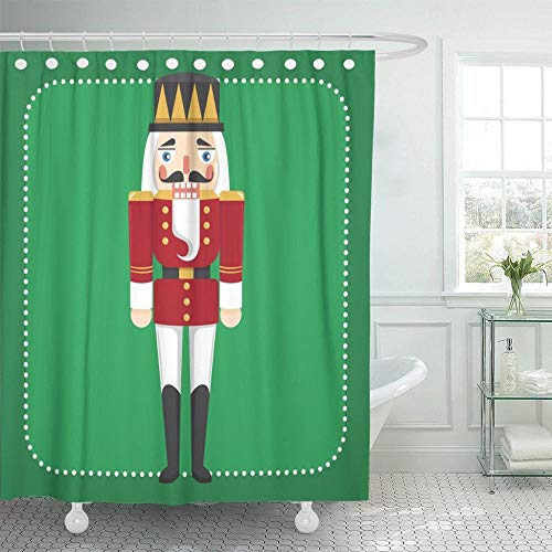 NOBRAND Leuke Kerst Notenkraker Poppenfiguur Speelgoed Vintage Douchegordijnen Waterdicht Polyester Stof met Haken - W150xH180cm