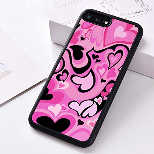 WGOUT Funda de teléfono de Goma de Silicona para iPhone 6 6S 7 8 Plus 5 5S SE X XS XR 11 12 Pro Mini MAX Patrón de Remolino de corazón Rosa, para iPhone 11 Pro