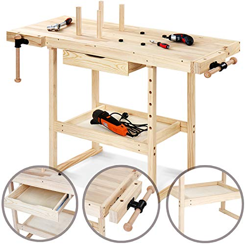 Werkbank aus Holz mit Spannzange und Schublade - 127x57,5x82,5 cm, bis 200 kg belastbar - Hobelbank...