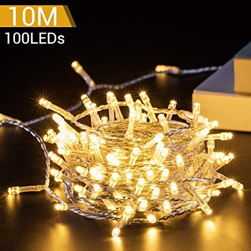 GlobaLink LED Lichterkette Außen 10M 100Leds Weihnachtsbeleuchtung IP44 mit Stecker 8 Modi & Memory-Funktion für innen und außen Weihnachten Hochzeit Party Garten Deko - Warmweiß