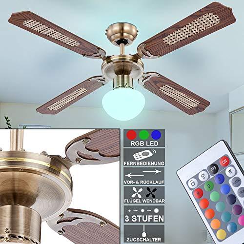 etc-shop Retro Decken Ventilator Zugschalter Farbwechsel Lampe Raum Kühler im Set inkl. RGB LED Leuchtmittel