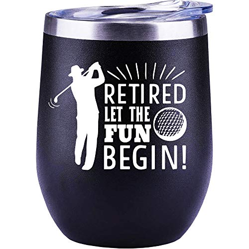 Retirement Gifts For Men, Golf, Christmas Gifts, Dad, Teacher, Coworker, Boss, Funny Golfer Wine Glass Mug