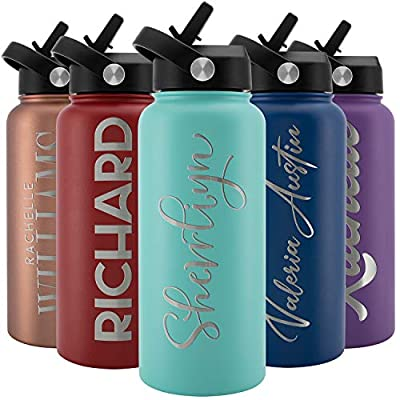 Amazing Items Personalized Water Bottle with Straw Lid, 32 oz - Teal | Custom Stainless Steel Sports Water Bottle w/Name and Text - Double Wall + Vacuum Insulated - Rotating Handle