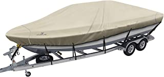 Explore Land Trailerable Boat Cover - Waterproof 600D Runabout Covers Fits V-Hull, Tri-Hull, Fishing Ski, Pro-Style Bass Boats, Full Size