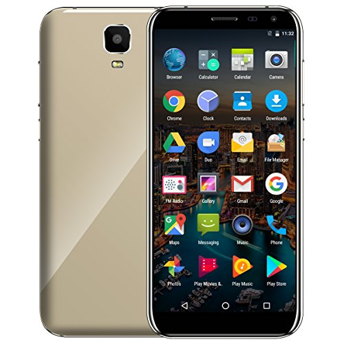 Unlocked 3G Smartphone,Padcod D24 5.5 Inch IPS Display Curved Glass Android 7.0, MTK6580 Quad-Core 1.3GHz Processor 16GB ROM Dual Sim Slot WiFi&Bluetooth 2G/3G Network Smart Android Phone (Gold)