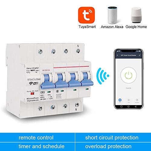 Trifásico 4P 380V 63A Tuya Smart WiFi Disyuntor Interruptor de control remoto industrial MCB con Amazon Alexa Echo-CHINA