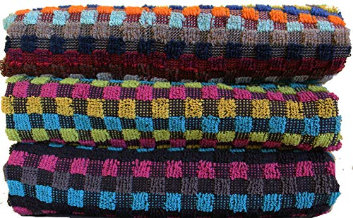 KH-Haushaltshandel 3er Pg. Frottier Grubentuch, 50 x 90 cm, Multicolor dunkel kariert, Handtuch, Mehrzwecktuch, 100% Baumwolle (3)