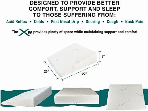 Xtreme-Comforts-7-Memory-Foam-Bed-Wedge-Pillow-Hypoallergenic-Breathable-Washable-Bamboo-Cover-Elevated-Support-Cushion-Acid-Reflux-Lower-Back-Pain-Heartburn-Snoring-Allergies