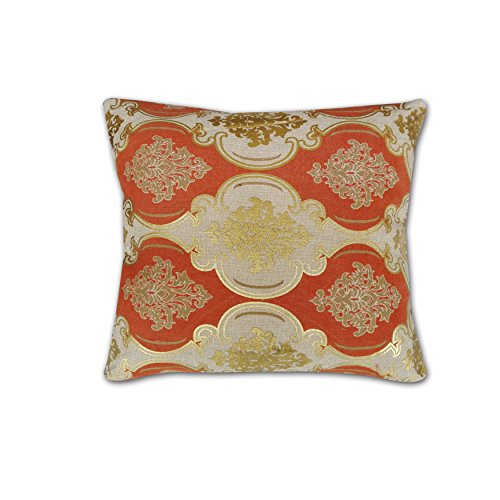 "Bednlinens Cotton Linen Decorative Accent Print Pillow Square Oblong Case Cushion Cover With Various Designs (20""x20"", 013-Gold)"
