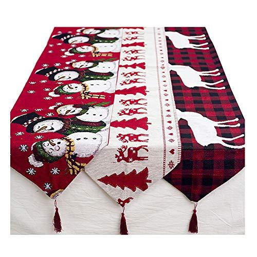 Sixcup  Runner Da Tavolo Natalizio Tovaglia Snowman Tovaglia Runner Tovaglia Cerata Tovaglia Natalizia Tovaglia Natale Tablecloth, Christmas Tree, 180Cmx35Cm