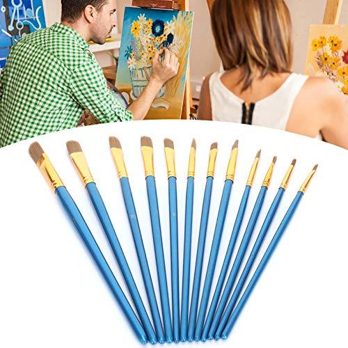 Pincéis de tinta acrílica, conjunto de pincéis de pintura, 12 unidades para pintura a tinta Pintura a guache Pintura a aquarela