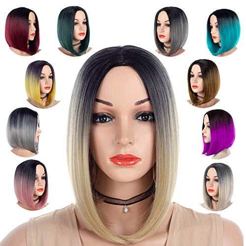 Best Short Bob Wig Middle Part Ombre Blonde 613 for Women or Girls Cosplay Daily Party Cheap Heat Resistant Synthetic Full Wigs Straight Real Fiber Wig (Not Human Hair) Half Hand Tied Free Wigs Cap