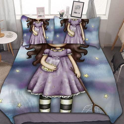 YYXPDD Juego de ropa de cama 3D de cómic para niña, funda nórdica rosa, juego de 3 piezas, 1...