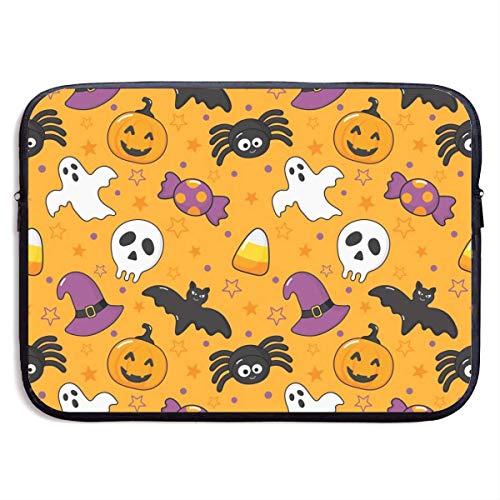 NA Laptop-Tasche Seaml Muster Happy Halloween Icons auf orangefarbenen Hintergrund Handtasche Laptop-Tasche kompatibel 13-13,3 Zoll & 15 Zoll
