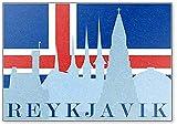 Kühlschrankmagnet Silhouette of Sights of Reykjavik im Hintergr& der Flagge von Island