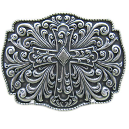 Fibbia - Croce Celtica - disegno viticcio - fibbia cintura placcata argento