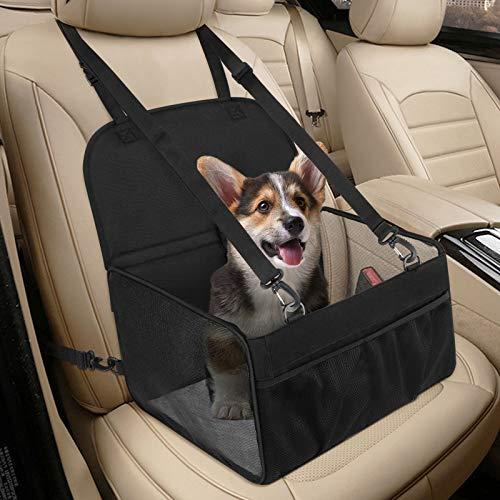 Hunde Autositz für Kleine Hunde, Atmungsaktiv Starkes Hundeautositz Hundesitz Auto Kommt mit Sicherheitsgurt Faltbar, Waschbar & Reißfest, Schwarz