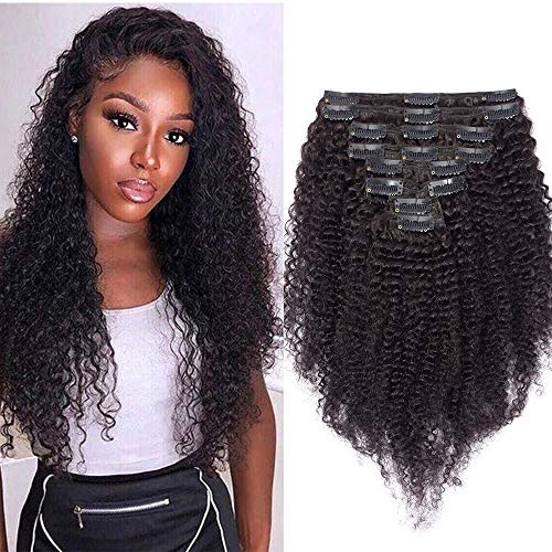 Extension Bresilienne A Clip Cheveux Humain Afro Kinky Curly Frisé Kinky Curly Clip In Hair Extension [Double Weft] Rajout Cheveux Epais - 12\