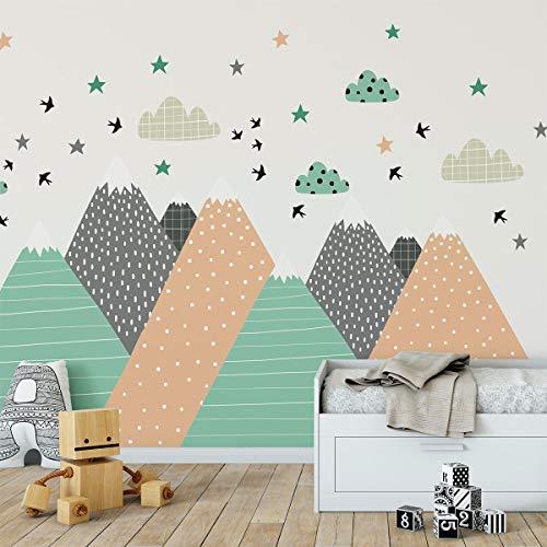 Stickers muraux enfants - Decoration chambre bébé - Stickers muraux enfant - Sticker mural scandinave - Autocollant mural géant montagnes scandinaves Darinka - H70 x L140 cm