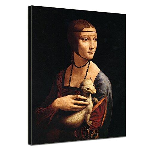 Wandbild Leonardo da Vinci Die Dame mit dem Hermelin - 30x40cm hochkant - Alte Meister Berühmte Gemälde Leinwandbild Kunstdruck Bild auf Leinwand