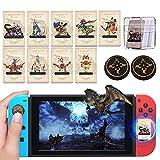 9PCS Amiibo para Monster Hunter Rise con 2PCS MHR Joystick Cap, Mini Tarjetas NFC Monster Hunter Rise Amiibo Incluye Palamute Palico Magnamalo, Amiibo Cards para Switch/Switch Lite/Wii U/New 3DS
