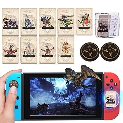 9PCS for Monster Hunter Rise Amiibo Cards with 2PCS Thumb Grip, Mini Monster Hunter NFC Card Include Magnamalo/Palamute/Palico, Monster Hunter Rise Amiibo Cards for Switch/Switch Lite/Wii U/New 3DS