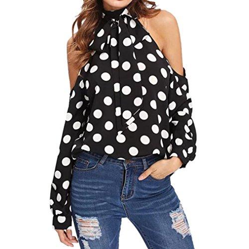 MORCHAN Les Femmes Holiday Dot Print Off Froid épaule Cravate à Manches Longues Ceinture Blouse Shirt Top(FR-42/CN-L,Noir)