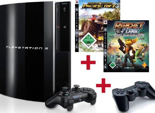 PlayStation 3 Konsole 80 GB Black + 2 Sony Wireless Dualshock Controller + Ratchet & Clank Platinum + MotorStorm Pacific Rift