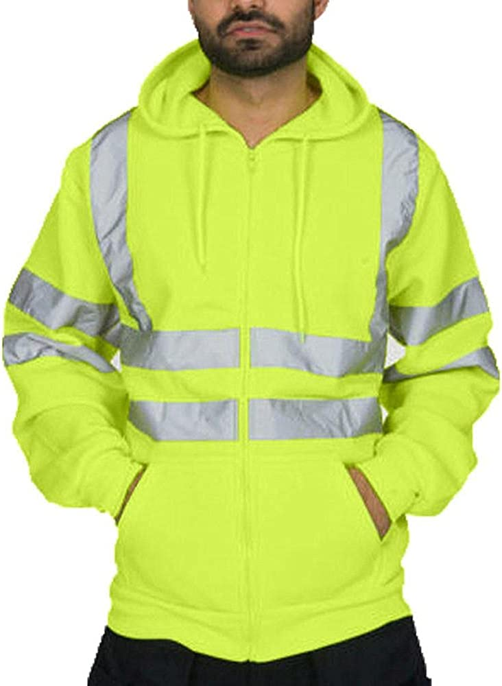 Qsctys Men's T Shirt Reflective Safety Lime Orange Long Sleeve High Visibility Sweatshirts Zip Up Hooded Pullover Tops Blouse