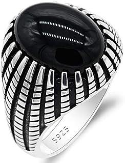 Qida Agate Rings للرجال - Solid 925 Sterling Silver Claw Set Black Onyx Cool Ring Wedding Band مجوهرات رائعة