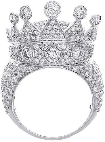 Crown Diamond Pave Designer Statement Pinky Ring Mens 10K White Gold 7 11 Ct product image