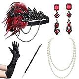BABEYOND 1920s Flapper Accessories Gatsby Costume Accessories Set 20s Flapper Headband Pearl Necklace Gloves Cigarette Holder (Set-122)