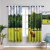 Pcglvie Colección de decoración de casa de campo, cortinas impresas para dormitorio, 114,3 cm de largo para sala de estar o dormitorio, color verde