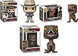 Funko POP! Jurassic Park: Dr Alan Grant + Tyrannosaurus Rex + Velociraptor - NEW...