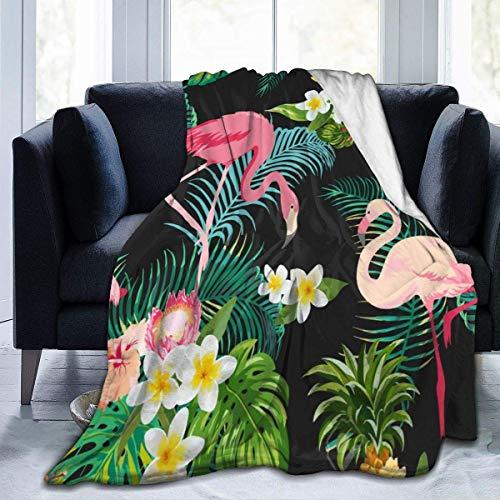 AEMAPE Manta de Tiro Tropical Flamingo Banana Leaf Manta cálida Manta Suave para sofá de Oficina en casa