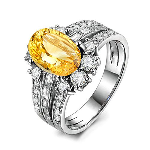 Adokiss Jewellery Silver Rings for Women Solid 925, Wedding Rings and Engagement Rings 9X7MM Oval Yellow Citrine with White Cubic Zirconia | Silver | Size J 1/2