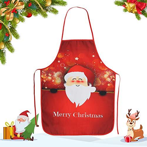 Delantal de Navidad CHALA Delantal de Cocina de Dibujos Animados Santa Muñeco de Nieve Elk Delantal para Fiesta de Navidad Chef/Cocina/Restaurante/Hornear/BBQ/Decoración del Hogar a Adultos Mujeres