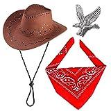 Haichen Western Cowboy Kostüm Zubehör Set Cowboy Hut Bandana Flying Eagle Pin Cowboy Outfit Kit...