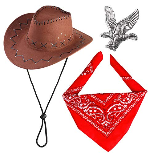 Haichen Western Cowboy Costume Accessories Set Sombrero de Vaquero Bandana Flying Eagle Pin Kit de Traje de Vaquero para la Fiesta de Halloween Dress Up (Marrón)