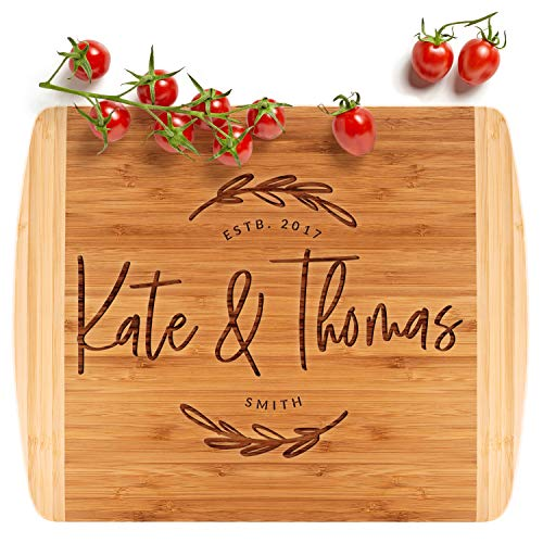 Personalized Cutting Board, Housewarming Gift | 13.5x11.5 | 12 Designs & 2 Sizes, Wedding Gifts for Couple, Anniversary Gift & Kitchen Sign - 2 Tone Block Board #G