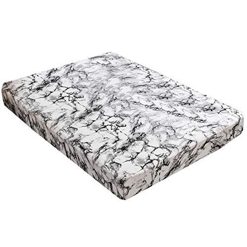 Fltaheroo Funda de colchón de mármol impreso patrón sábana bajera ajustable con banda elástica de goma para ropa de cama textil para el hogar 153 x 203 x 30 cm